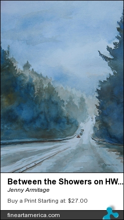 Between The Showers On Hwy 101 by Jenny Armitage - Painting - Transparent Watercolor