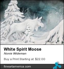 White Spirit Moose by Nonie Wideman - Painting - Mixed Media