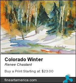 Colorado Winter by Renee Chastant - Painting - Watercolor On Arches Paper