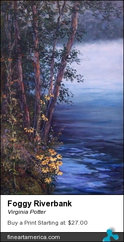 Foggy Riverbank by Virginia Potter - Painting - Acrylic On Canvas