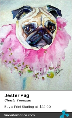 Jester Pug by Christy  Freeman - Painting - Watercolor On Paper