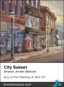 City Sunset by Sharon Jordan Bahosh - Painting - Oils On The Edge Canvas