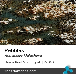 Pebbles by Anastasiya Malakhova - Watercolor on paper, Digitally Altered