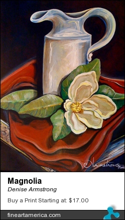 Magnolia by Denise Armstrong - Painting - Acrylic