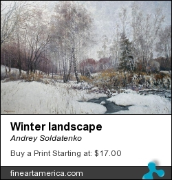 Winter Landscape by Andrey Soldatenko - Painting - Pol On Canvas