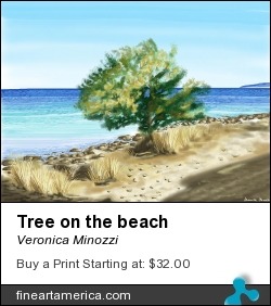 Tree On The Beach by Veronica Minozzi - Painting - Painting With Ipad