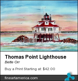 Thomas Point Lighthouse by Bette Orr - Painting - Transparent Watercolor