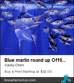 Blue Marlin Round Up Off0031 by Carey Chen - Painting - Acrylic On Canvas