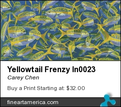 Yellowtail Frenzy In0023 by Carey Chen - Painting - Acrylic On Canvas
