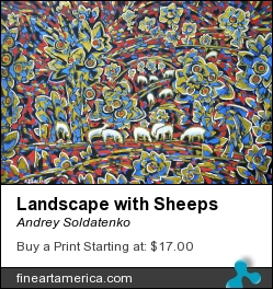 Landscape With Sheeps by Andrey Soldatenko - Painting - Carton (fick Paper) Tempera Acryl