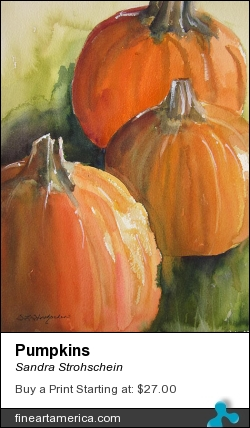 Pumpkins by Sandra Strohschein - Painting - Watercolor