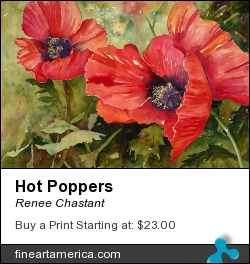 Hot Poppers by Renee Chastant - Painting - Watercolor On Paper
