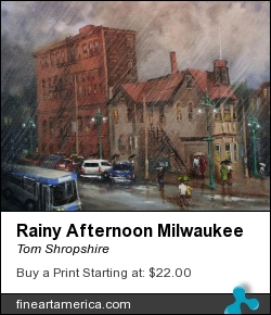 Rainy Afternoon Milwaukee by Tom Shropshire - Painting - Acrylic On Stretched Canvas