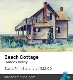 Beach Cottage by Robert Harvey - Painting - Watercolor