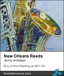 New Orleans Reeds by Jenny Armitage - Painting - Transparent Watercolor