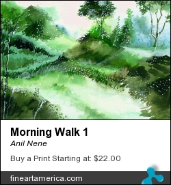 Morning Walk 1 by Anil Nene - Painting - Water Color On Paper