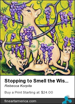 Stopping To Smell The Wisteria - Cat And Kittens by Rebecca Korpita - Painting - Acrylic