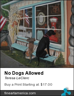 No Dogs Allowed by Teresa LeClerc - Painting - Pastel