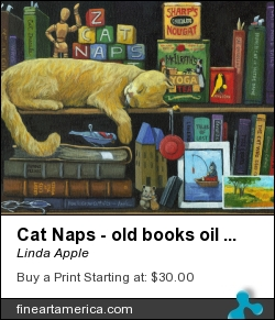 Cat Naps - Old Books Oil Painting by Linda Apple - Painting - Oil On Canvas