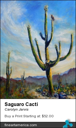 Saguaro Cacti by Carolyn Jarvis - Painting - Oil On Canvas