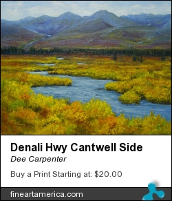 Denali Hwy Cantwell Side by Dee Carpenter - Painting - Oil