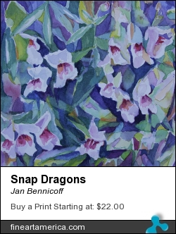Snap Dragons by Jan Bennicoff - Painting