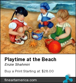 Playtime At The Beach by Enzie Shahmiri - Painting - Oil On Canvas