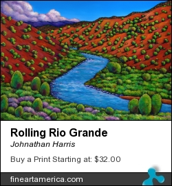 Rolling Rio Grande by Johnathan Harris - Painting - Limited Edition Hand Embellished Giclee Print On Canvas