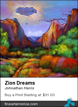 Zion Dreams by Johnathan Harris - Painting - Limited Edition Hand Embellished Giclee Print On Canvas