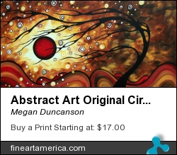 Abstract Art Original Circle Painting Flaming Desire By Madart by Megan Duncanson - Painting - Acrylic On Canvas