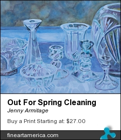 Out For Spring Cleaning by Jenny Armitage - Painting - Transparent Watercolor On Clayboard
