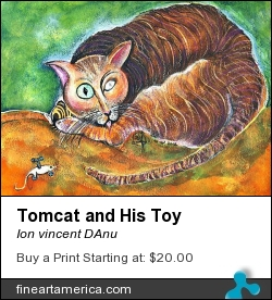 Tomcat And His Toy by Ion vincent DAnu - Painting - Watercolor, Acylics, Mixted Media