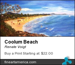Coolum Beach by Renate Voigt - Painting - Oil On Canvas