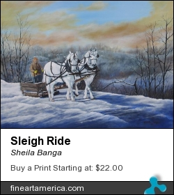 Sleigh Ride by Sheila Banga - Painting - Acrylic
