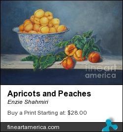 Apricots And Peaches by Enzie Shahmiri - Painting - Oil On Canvas