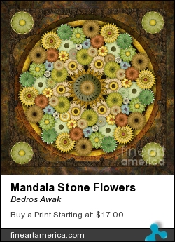 Mandala Stone Flowers by Bedros Awak - Digital Art - Digital Art