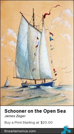Schooner On The Open Sea by James Zeger - Painting - Pen And Ink, Watercolor