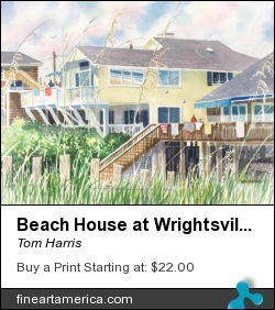 Beach House At Wrightsville Beach by Tom Harris - Painting - Watercolor