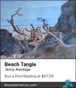 Beach Tangle by Jenny Armitage - Painting - Watercolor On Paper