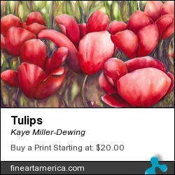 Tulips by Kaye Miller-Dewing - Painting - Gouache On Paper