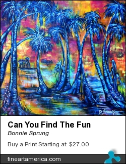 Can You Find The Fun by Bonnie Sprung - Painting - Oil/acrylic On Muslin