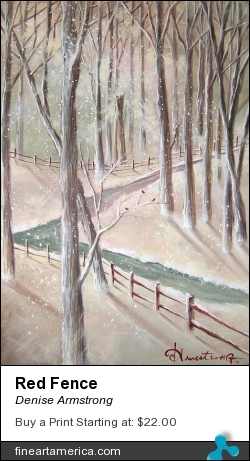 Red Fence by Denise Armstrong - Painting - Acrylic