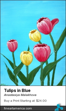 Tulips in Blue by Anastasiya Malakhova - acrylic on canvas board
