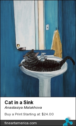 Cat in a Sink by Anastasiya Malakhova - acrylic on canvas paper