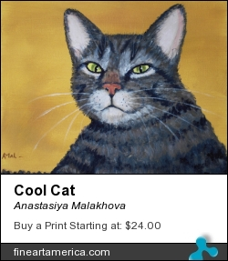 Cool Cat by Anastasiya Malakhova - acrylic on canvas
