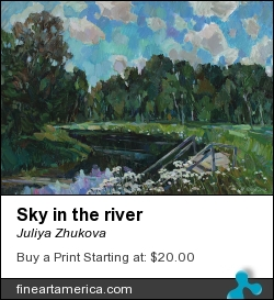 Sky In The River by Juliya Zhukova - Painting - Canvas, Oil, 50-70cm