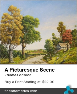 A Picturesque Scene by Thomas Kearon - Painting - Oil On Oil Primed Linen