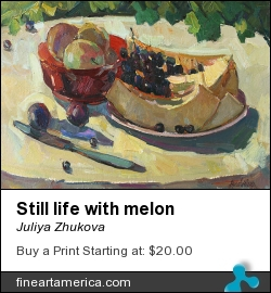 Still Life With Melon by Juliya Zhukova - Painting - Oil On Cardboard, 35-50cm