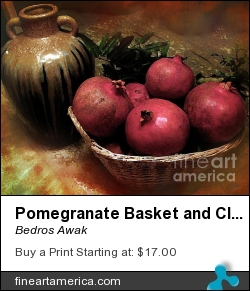 Pomegranate Basket And Clay Jar by Bedros Awak - Photograph - Photography