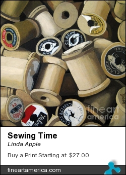 Sewing Time by Linda Apple - Painting - Oil On Canvas